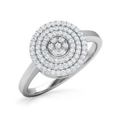 Three Line Halo Axial 18k White Gold And 0.25ct Natural Diamonds Anniversary Ring