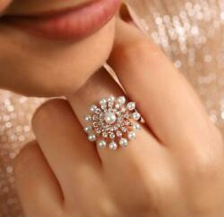 Pearl Coup 18k Rose Gold And 0.50ct Vintage Natural Diamonds Wedding Special Ring