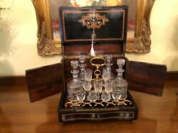 19c Antique French Napoleon Iii Tantalus Liquor Cabinet Inlay Boulle Working Key