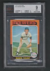1975 Topps Mini Robin Yount Rookie Card Rc 223 Milwaukee Brewers Bvg 9 Mint