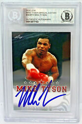 Mike Tyson Signed Leaf Trading Card Semt2 Beckett Bas Authentic