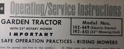 Mtd 142-669 192-651 32 Riding Lawn Garden Tractor Owner And Parts Manual 1972