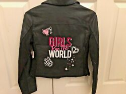 NWT NEW Justice Faux Leather Girls Run The World Moto Jacket BLACK Size 12 14 $39.99