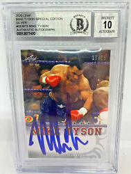 Mike Tyson Signed Leaf Trading Card Semt5 Le 25 Silver Beckett Bas Graded 10