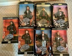 Unopened Harley-davidson Barbie Collection 2000 Dolls 1-7 And Motorcycle