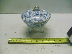 Vintage Lefton China Kf2142 Hand Painted Covered Dish Footed Blue Paisley Gold