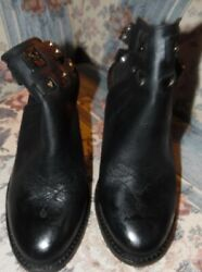 Circle G Black Leather Ankle Boots W Buckle Closures In Back Size 7.5m Nwob