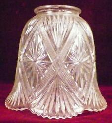 Art Deco Lamp Shade Stars Zippers Fans Clear Pressed Glass Table Stand 127