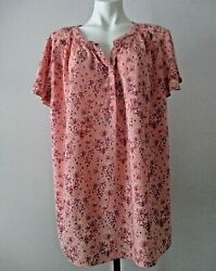 St. Johnand039s Bay Plus Size 1x Peach 100 Rayon Flutter Sleeve Floral Casual Blouse