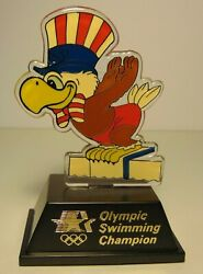 Old Vintage 1984 Los Angeles Summer Olympics Swimming Champion Trophy Rick Carey