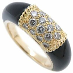 Authentic And 18k Yellow Gold Diamond Onyx Ring Size 7.25 /094416