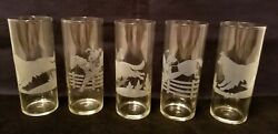 5 Federal Tally Ho Fox Hunt Hounds Dogs Hunters Horse Jump Tom Collins Glasses