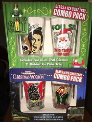 Lot Elf Movie Christmas Vacation Pint Glasses And Rubber Ice Cube Tray Combo Pack