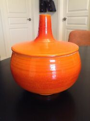 Early American Haeger Covered Pottery Dish 8 Mid Century Pottery Bowl And Lid