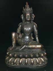18.8 Antique Old Temple Tibetan Buddhism Dynasty Bronze Free Guanyin Statue