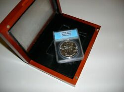 1987 Silver Eagle Ms 70. Certified. With Wooden Display Case.