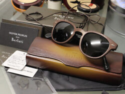 Oliver Peoples Pour Berlut 1st Model Limited Sheldrake Leather Sunglasses Rare