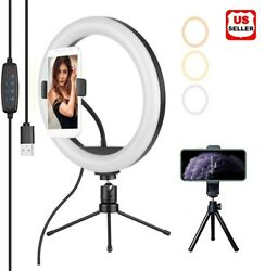 Led 10 Inch Ring Light With Mini Tripod Stand Photo Video Dimmable Photo Makeup