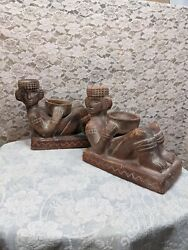 Vintage Mayan Chacmool Red Clay Offering Bowl Statues