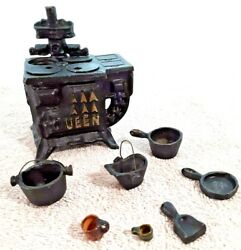 Lot Of 8 Doll House Miniature Antique 3.5 Cast Iron Wood Cook Stove + Accessor
