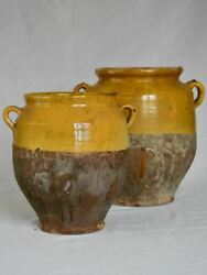 Two Large Antique French Confit Pots With Yellow Glaze