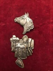 Equestrian Pewter Set Japanese Saddle Pin And Horse Head Tie Tack Signed Geo. 92