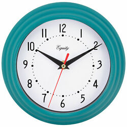25020 Equity by La Crosse 8quot; Plastic Analog Wall Clock Teal