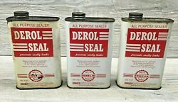 3 Vintage Conklin Derol Seal Empty One Pint Cans - Advertising - Gas And Oil