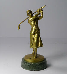 An Art Deco Bronze Car Mascot In The From Of A Lady Golfer - Jose Dunach