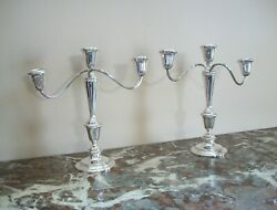 Newport - Pair Of Sterling Silver Candelabra - Weighted - U.s.a. - 20th Century