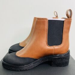 J.crew 248 Crepe Sole Chelsea Boots In Leather Warm Sepia Size 6 Ar756