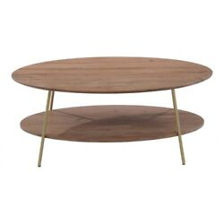 43 W Dipalino Coffee Table Oblong Solid Acacia Wood Brass Iron Legs Modern