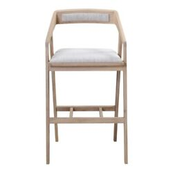 22.5 W Set Of 2 Bar Stool Polyester Fabric Angled Arms Solid Oak Wood Modern