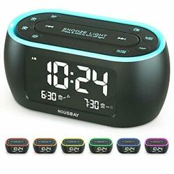 Glow Small Alarm Clock Radio for Bedrooms with 7 Color Night Light Dual