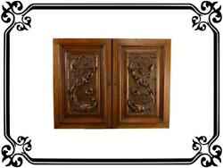 Vintage Pair Of Antique Carved Wooden Furniture Doors Dolphin Decorations