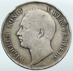 1843 Germany German States Wurttemberg Wilhelm I Old Silver Gulden Coin I87652