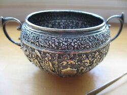 Antique Persian Style Middle Eastern Handmade Solid Silver Sugar Bowl And Tongs