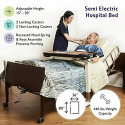 New Semi Electric Hospital Bed With Rails Included - Fully Adjustable In Stock