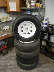 Maxxis Steel Belted Radial Travel Trailer Tires Like New With Spoked White Rims