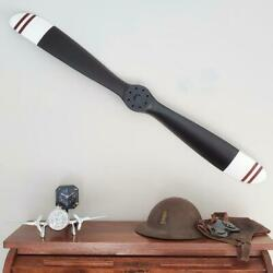 Replica Wwi Black Wood Wooden Airplane Aircraft Propeller 47 Red Stripes Tips