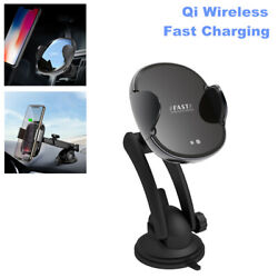 2 In 1 Qi Wireless Fast Charging Car Charger Mount Cell Phone Holder Stand Kit