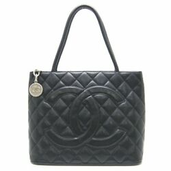 Authentic Medallion Tote Bag A01804 Reissued Caviar Skin Black /058086