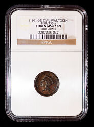 Ngc Ms 62 Bn 1861 - 1865 Our Army Civil War Token F-50/335a
