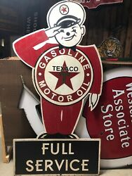 Large Vintage Texaco Gas Station Attendant Old Advertising Sign Double Sided