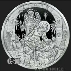 1 Oz 999 Pure Silver Shield Proof Father Mother Holy Spirit Jesus Round Coin Coa