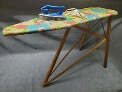 National Washboard Co Child Wood Ironing Board With Cover And Wolverine Toy Iron