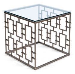 26 W Set Of 2 Square Side Table Thick Glass Top Gold Finished Iron Gate Base