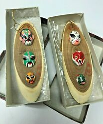 Vintage Boxed Chinese Beijing Opera Wooden Mask Ornaments Unique Cultural Gift