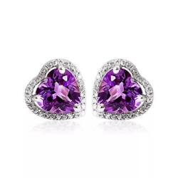14k White Gold Amethyst And Vintage Natural Diamonds 1.00ct Halo Stud Earrings