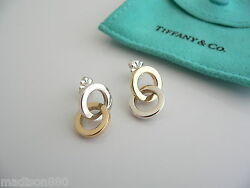 And Co Silver 18k Gold Circles Dangling Dangle Earrings Rare Gift Pouch